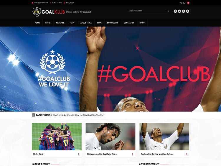 Goal Club WordPress Sports Theme