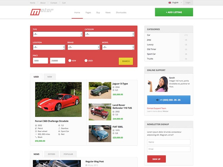 Motor WordPress Car Dealer Theme