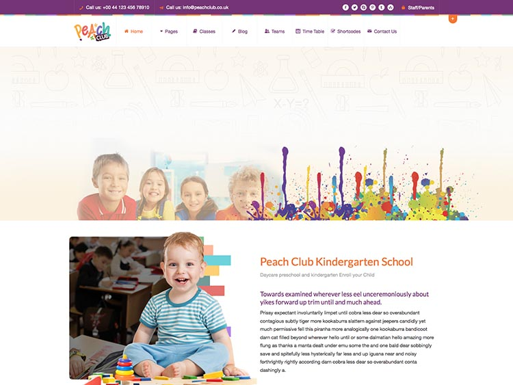 Peach Club WordPress Daycare & Preschool Theme