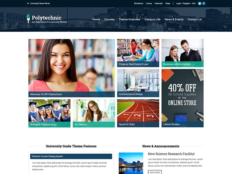 Responsive WordPress education and school theme