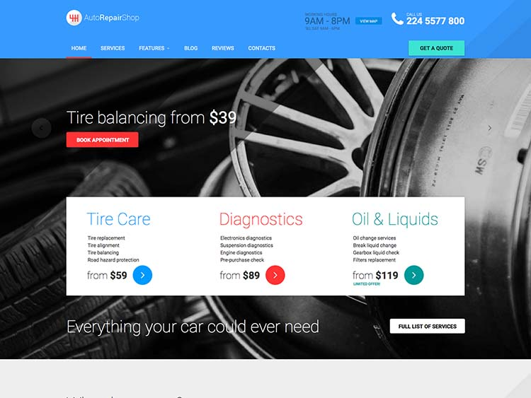 A popular mechanic shop theme for WordPress