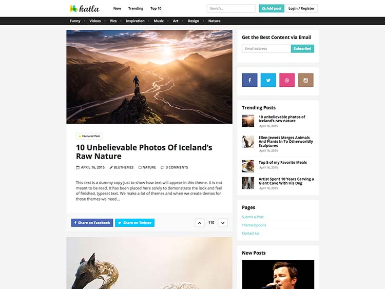 Katla Content Sharing Theme for WordPress