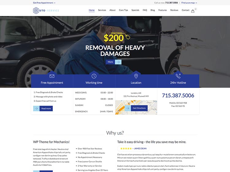 Auto Repair Theme for WordPress