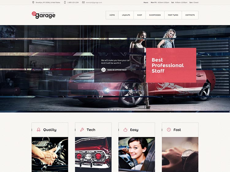 Garage theme for WordPress