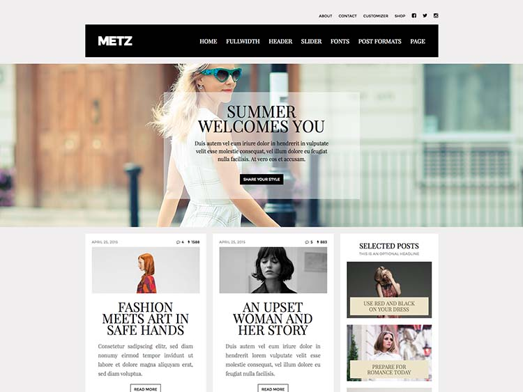 Metz WordPress Style Blog Theme