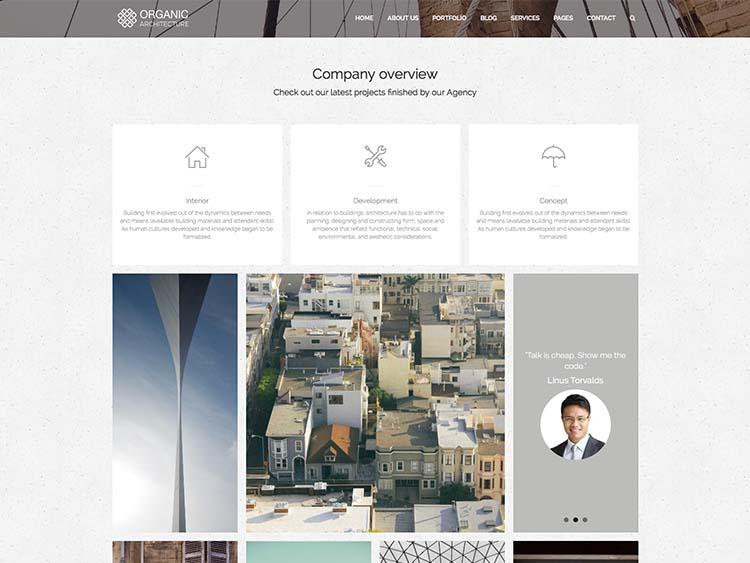 A pretty cool architecture theme for WordPress