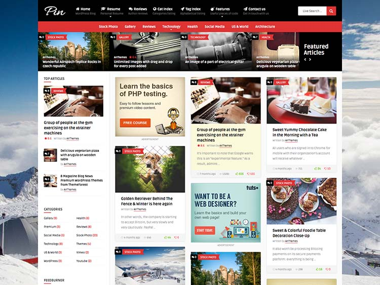 Best Pinterest-style WordPress theme for content sharing and pinning