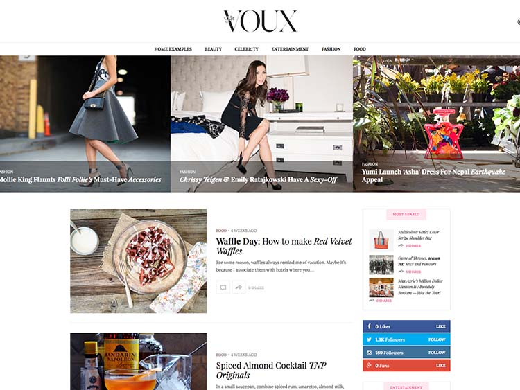 The Voux WordPress Fashion Mag Theme