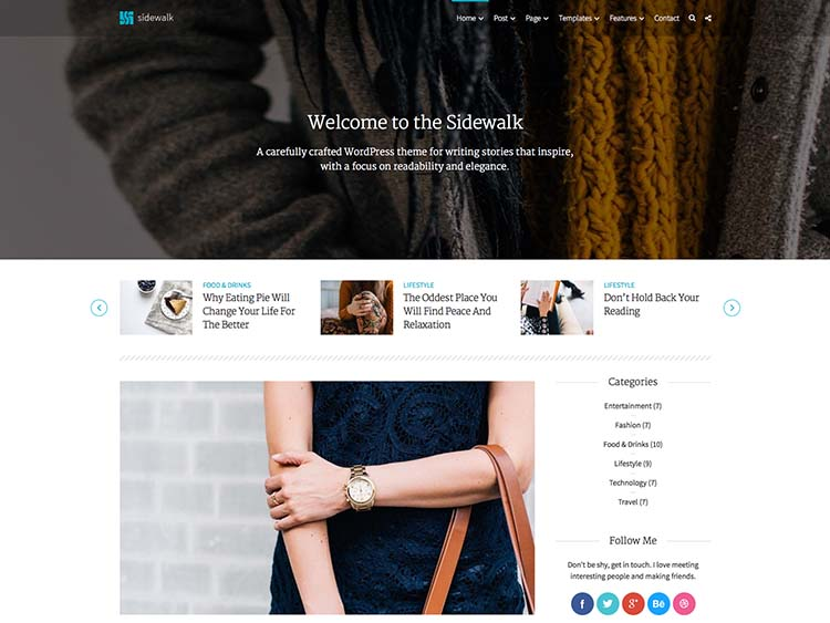 Sidewalk Blogging Theme for WordPress