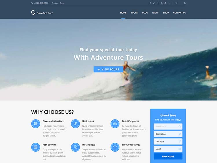 Top of the line travel agency theme for WordPress