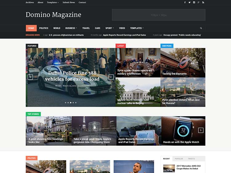 Domino Magazine theme for WordPress