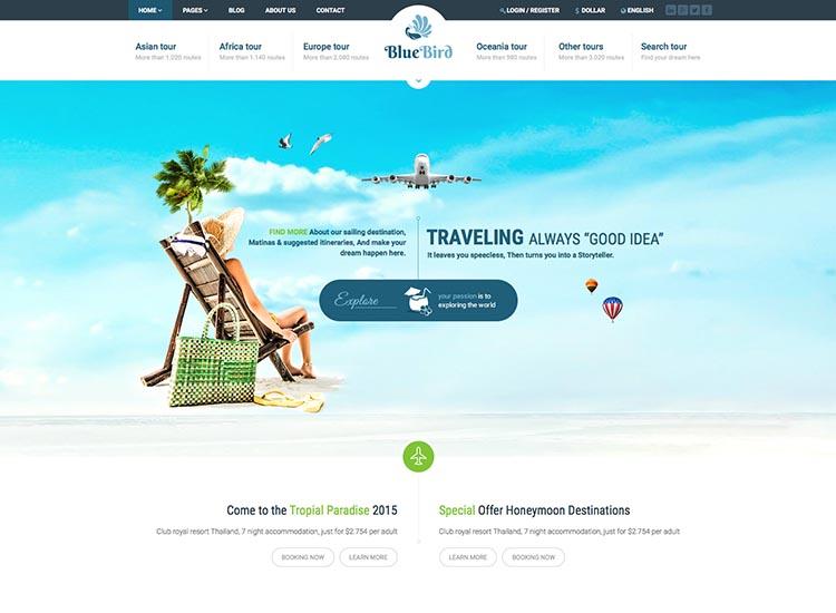 Blue Bird Tourism WordPress Theme