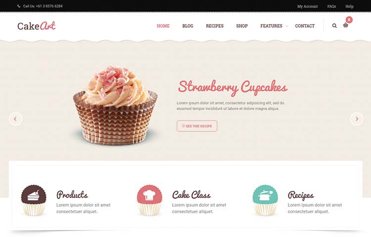 CakeArt Bakery and Cake Shop Theme for WordPress