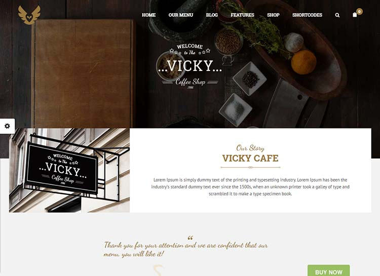 An excellent coffee shop and cafe theme for WordPress