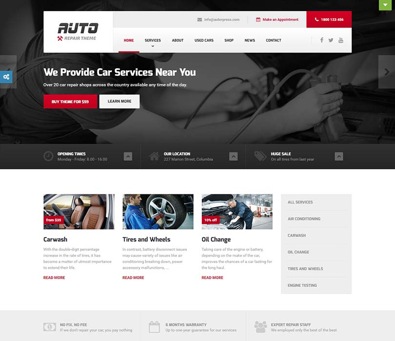 Best mechanic and auto repair WordPress theme