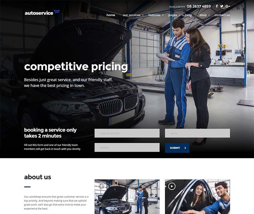Best auto service theme for WordPress