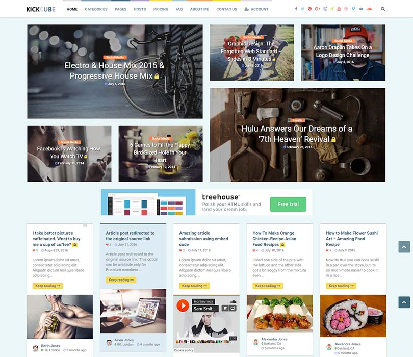 Best Pinterest style content sharing theme for WordPress