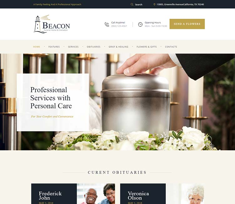 Beacon, Our Favorite Funeral Home WordPress Theme