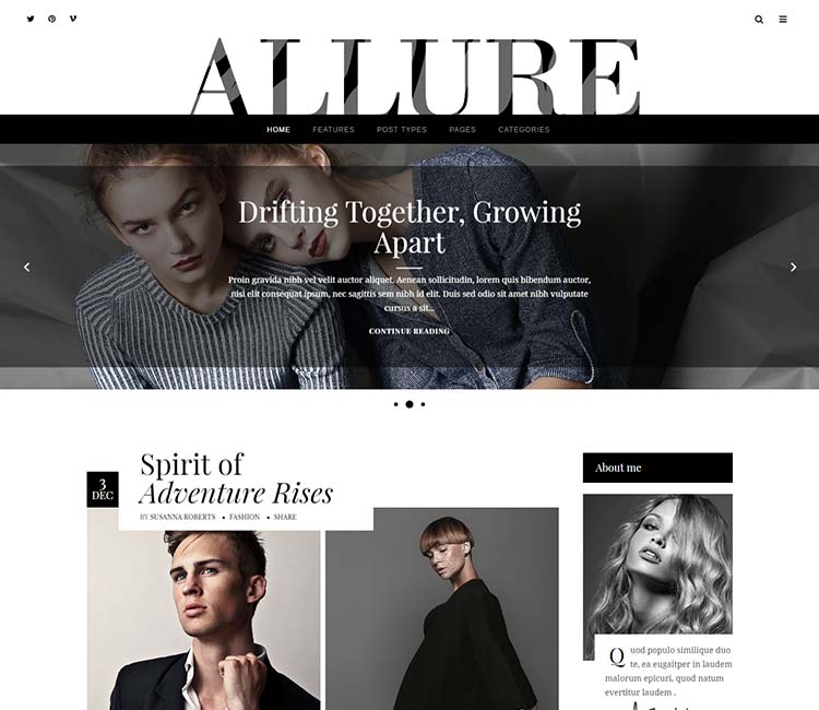 Aluure, the best Vogue style magazine theme