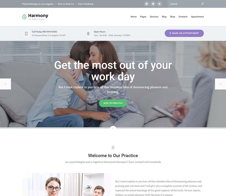 Harmony: our favorite WordPress psychology theme