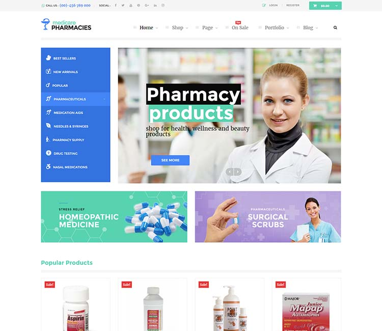 Medicare, one of the best WordPress pharmacy themes