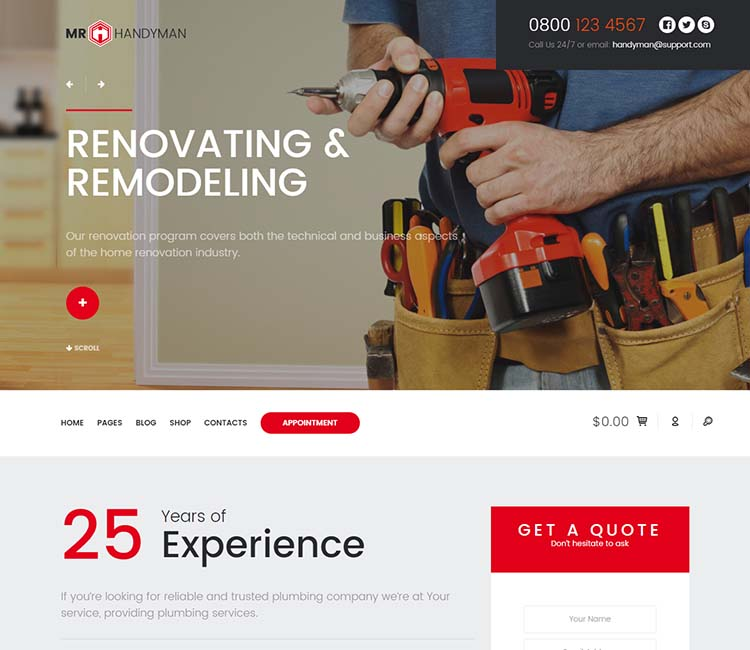One of our favorite WordPress handyman themes