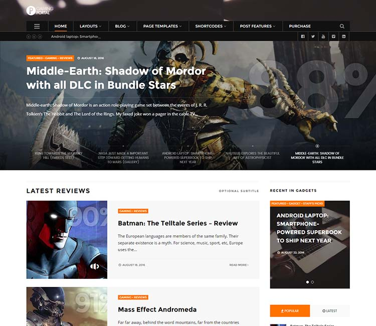 WP Portal, our favorite gaming magazine theme for WordPress