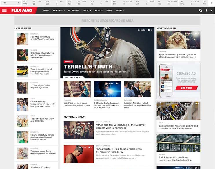 FlexMag, our pick for top sports magazine theme for WordPress
