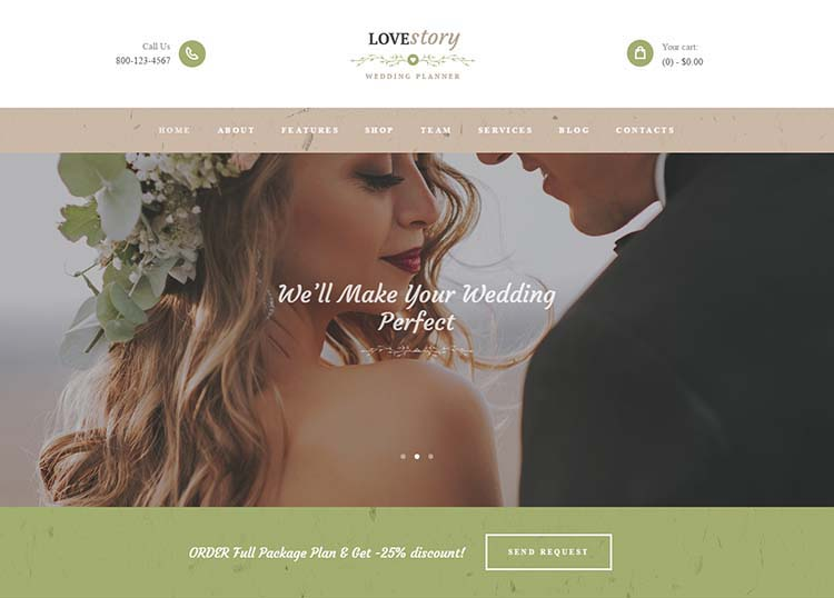 The best WordPress wedding planner theme, Love Story