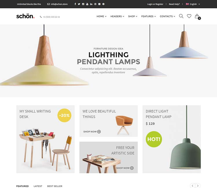 Schon, one of our favorite WordPress furniture store themes