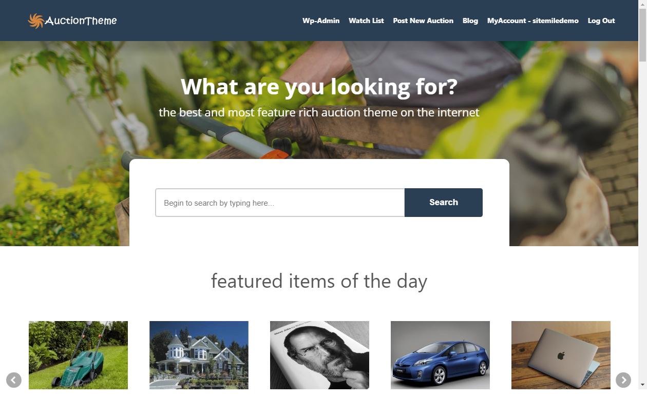 auctiontheme wordpress marketplace theme