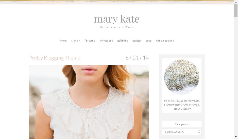 mary kate wordpress fashion blogger theme