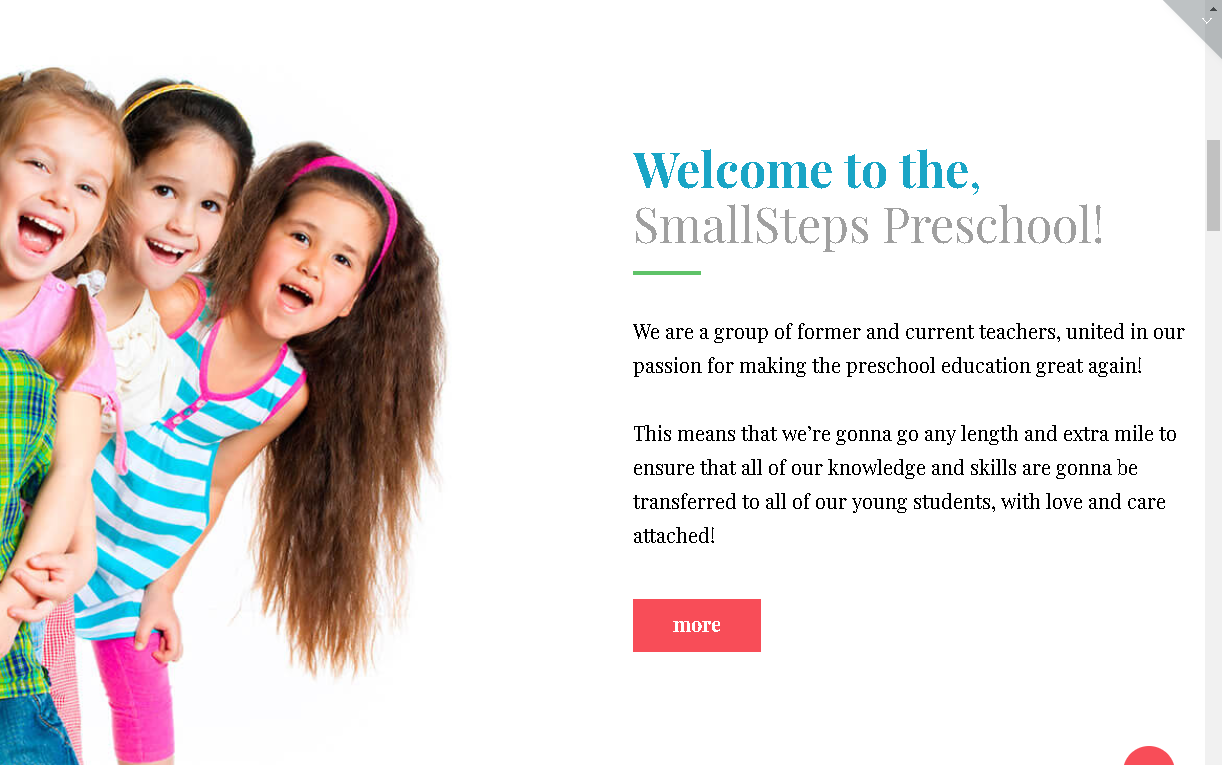 smallsteps preschool wordpress theme