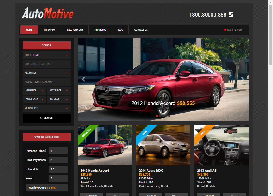 automotive auto dealer theme