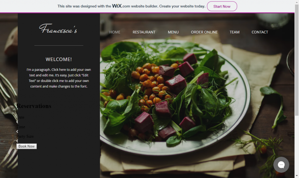 wix screenshot: wix vs weebly vs duda vs wordpress