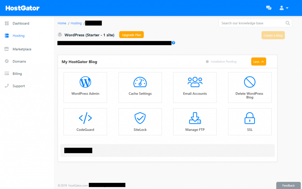 HostGator vs Bluehost vs SiteGround: The HostGator dashboard
