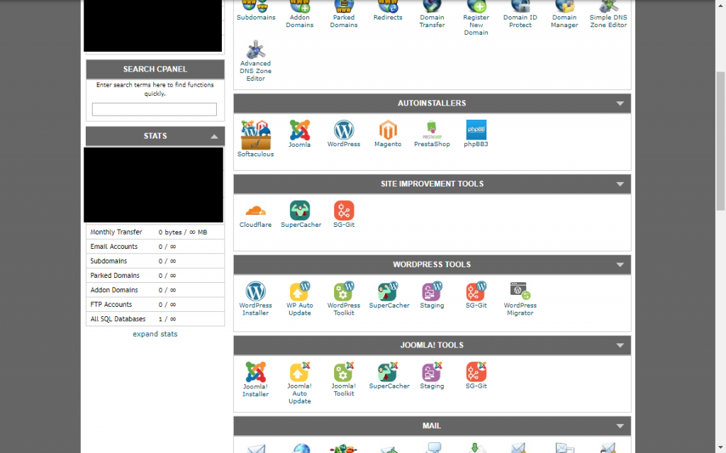 GoDaddy vs InMotion vs SiteGround: The SiteGround cPanel dashboard