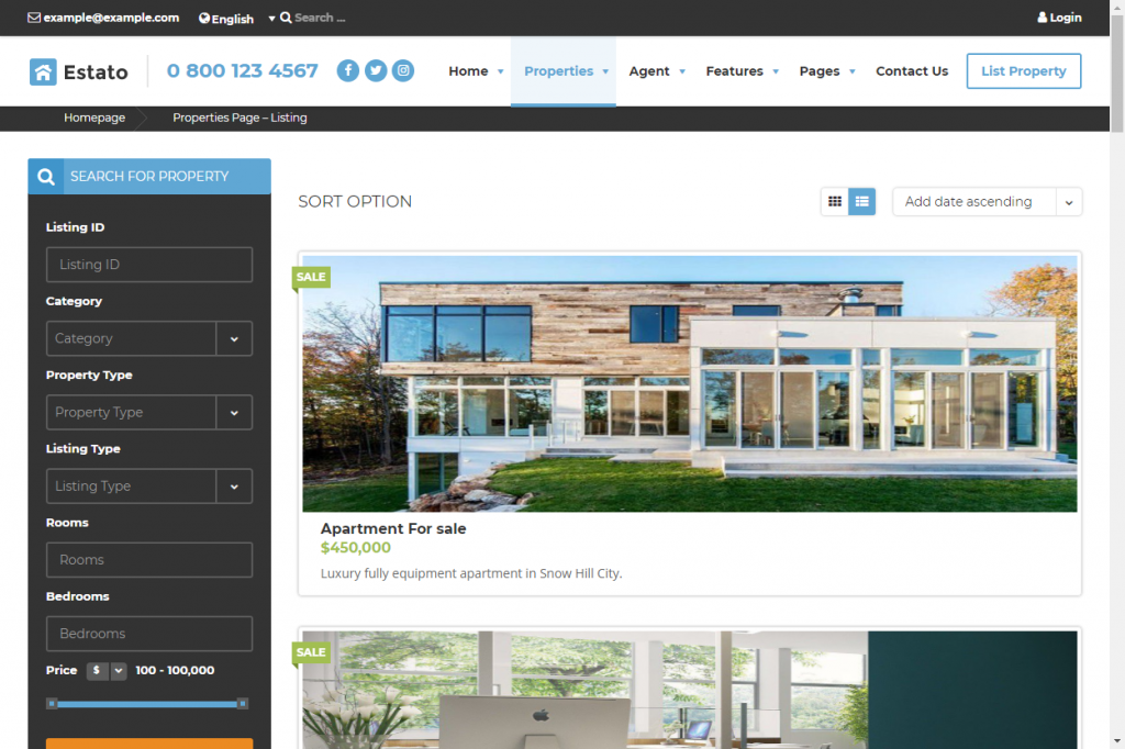 Estato real estate property management theme