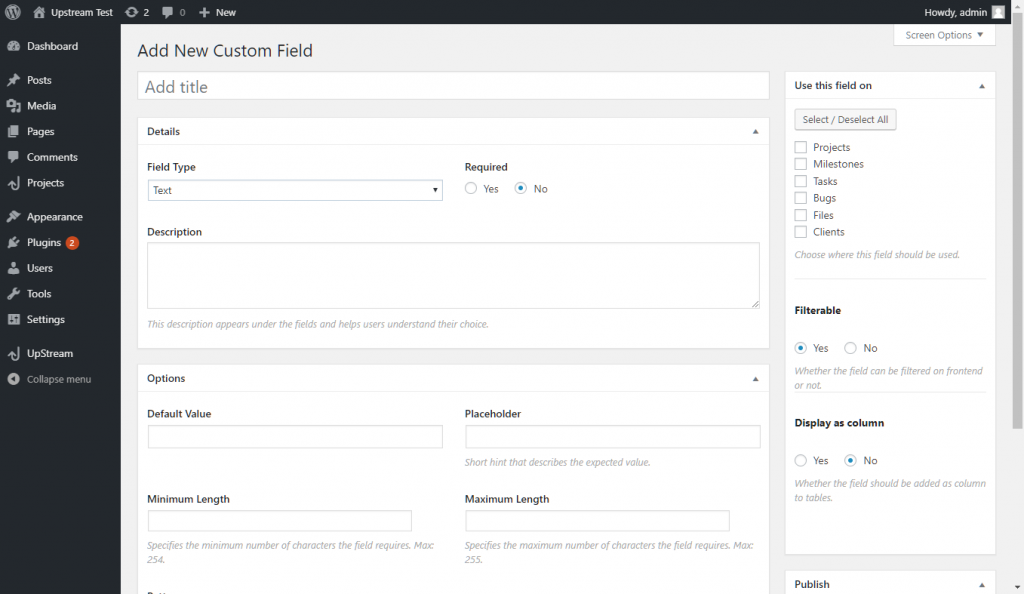 UpStream Custom Fields Best WordPress Project Management Plugins